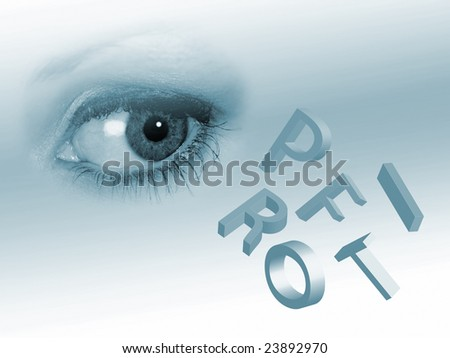 Female eye overlooks falling letters spelling profit - stock photo