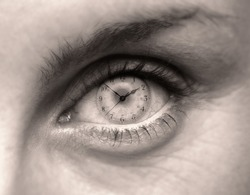 FEMALE EYE WITH CLOCK FACE