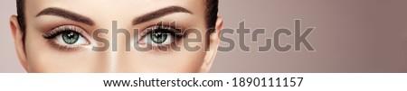 Female Eye with Extreme Long False Eyelashes. Eyelash Extensions. Makeup, Cosmetics, Beauty. Close up, Macro Foto stock ©
