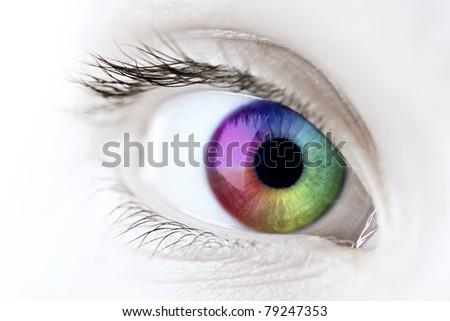 Female eye with rainbow multicolored iris close up