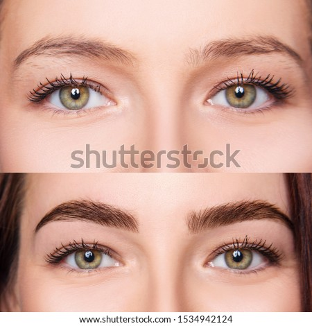 Female eyes closeup before and after eyebrows correction and dying.
