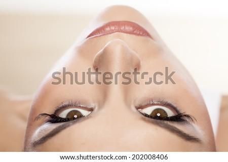 female eyes with long false eyelashes