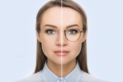 female face, cut in half to present before and after checking vision. Woman face without glasses and with glasses