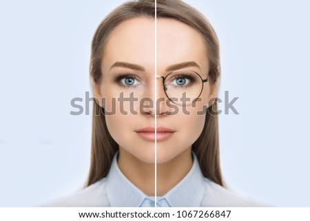female face, cut in half to present before and after checking vision. Woman face without glasses and with glasses #1067266847