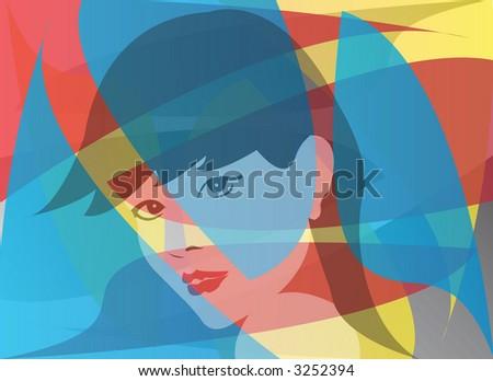 Female face red blue yellow Eurasian - stock photo