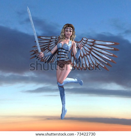Female Fantasy Angel with sword. 3D rendering over fantasy heaven