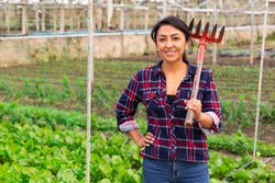Female farmer with rake on a farm field