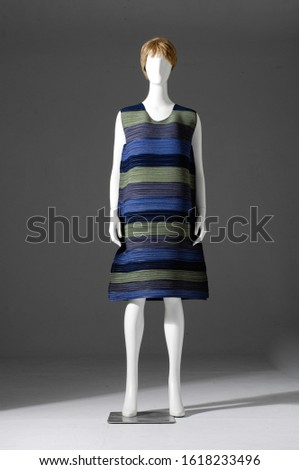 female fashion blue clothes with sundress clothes on mannequins