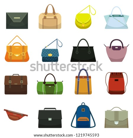 Female fashion leather handbags and male accessory. Colorful yellow green gray brown blue black lady handbag accessories, beauty bags and purse model collection  cartoon set