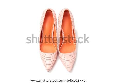 female fashion shoes high heels pink orange isolated on white background
