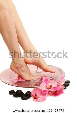 Female feet in spa bowl with water isolated on white