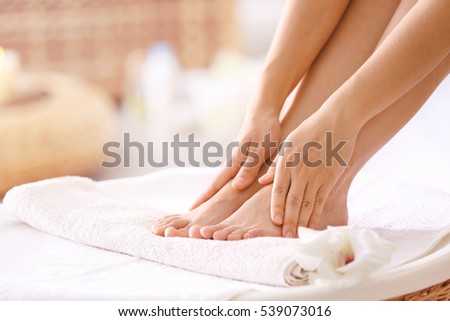 Female feet in spa salon, closeup #539073016