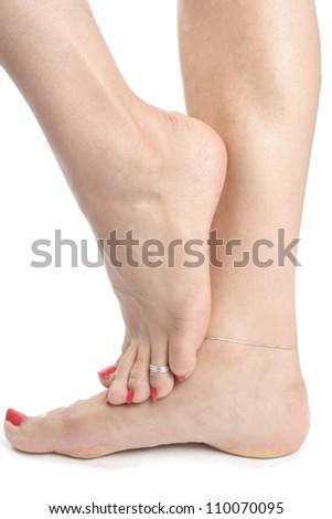 Female feet isolated  over white background