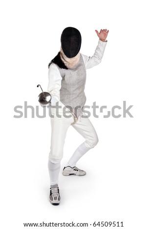 Female fencer isolated on white - stock photo