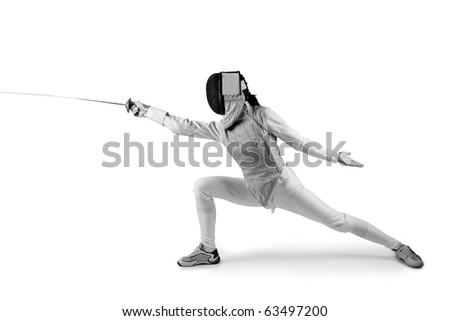 Female fencer isolated on white (black and white photo)