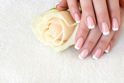 Female fingers with beautiful manicure on white terry towel, close up. French tips and a tea rose, selected focus. Beauty shop, spa, hand care, treatment, salon, body parts and woman fetish concept