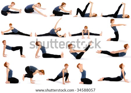 Female fitness model in various sitting yoga poses isolated on white background.
