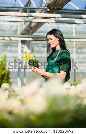 Female florist or gardener in flower shop or nursery
