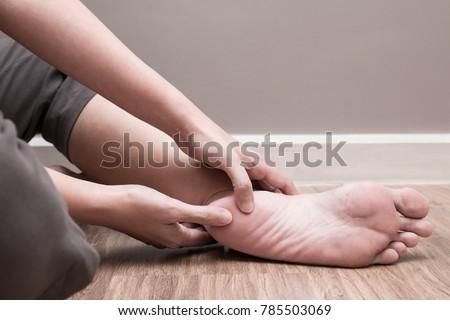 Female foot heel pain, plantar fasciitis #785503069