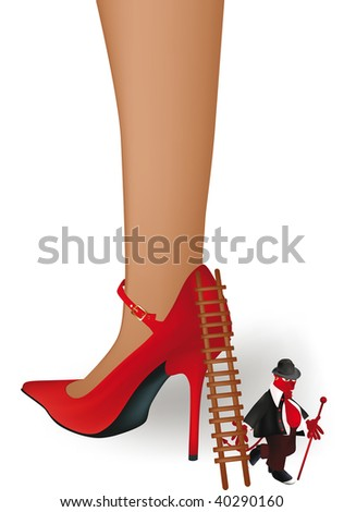 Stock Photo female foot in a red shoe and old devil with a ladder