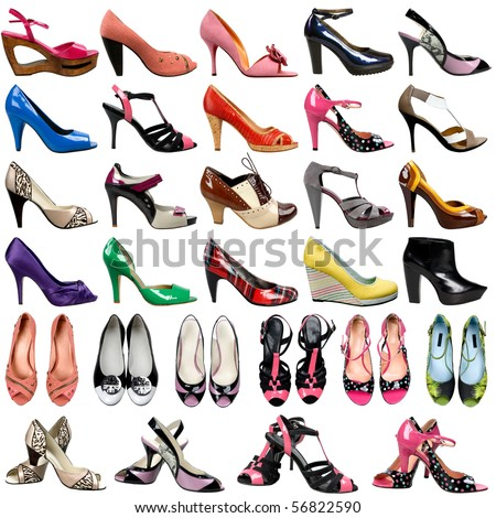 female footwear on a white background. 30 pieces.