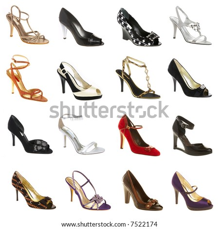 female footwear on a white background. 12 pieces.