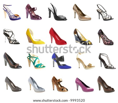 female footwear on a white background. 20 pieces.