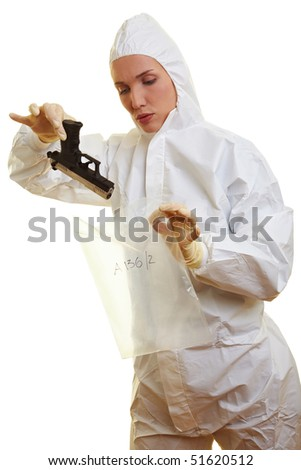 Female forensic scientist holding a weapon as evidence