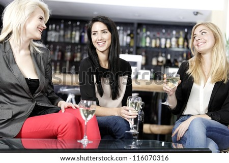 female friends enjoying a drink together at a wine bar.