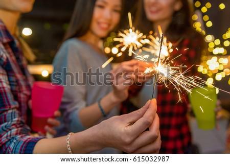 Female friends having fun at celebration #615032987