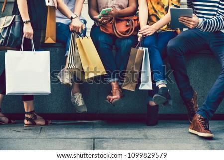 Female friends on a shopping spree
