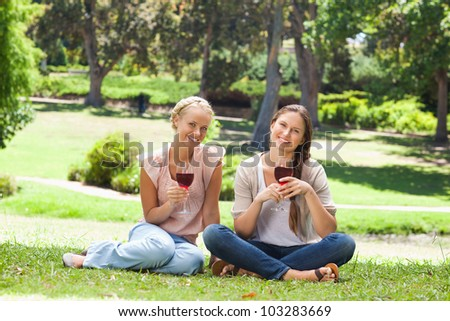 Female friends with wine glasses in the park