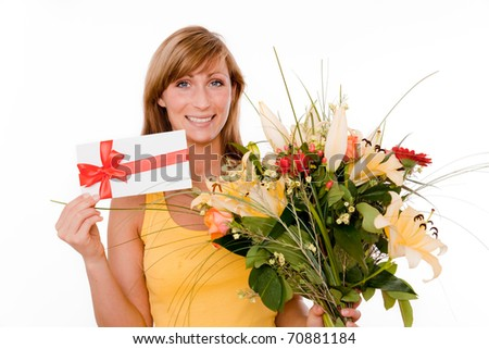Female getting for delivery a bunch of flors - stock photo