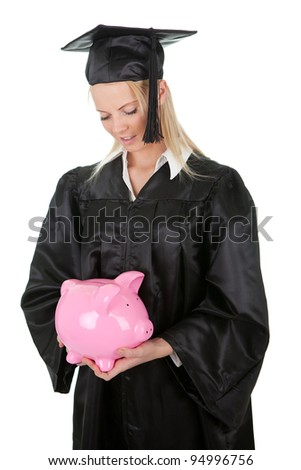 Female graduate student holding money