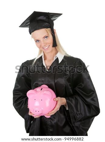 Female graduate student holding piggybank