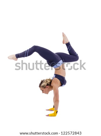 Female gymnast doing stagged out hand stand