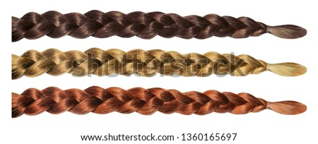Female hair wig pigtail plait isolated set. Blonde brunette brown hair