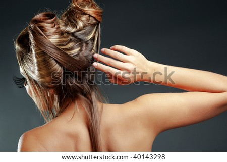 stock photo : Female halloween hairstyle back view