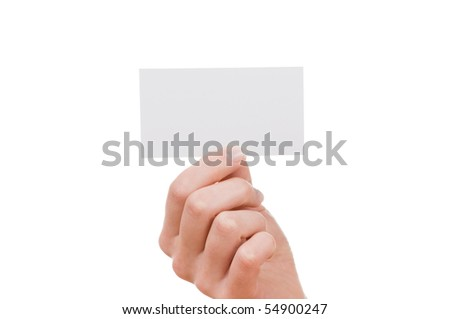 Female Hand and a card isolated on white background