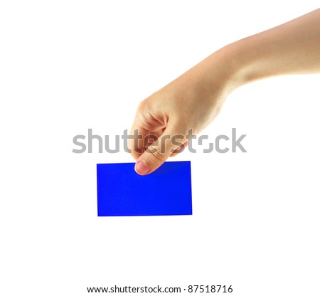 Female hand and blue card isolated on white