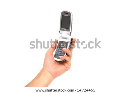 Female hand and cell phone - stock photo