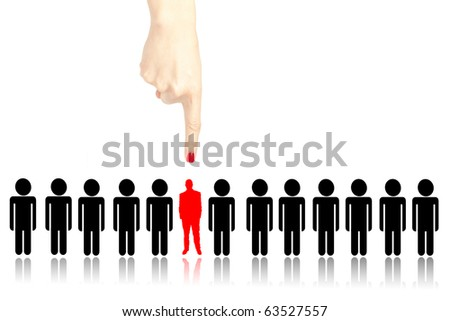 Female hand choosing the right person from a group