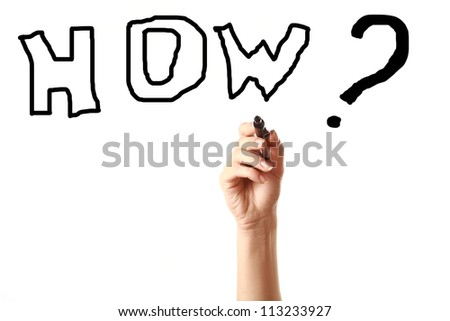 "Female hand drawing word ""how"" on screen with black marker isolated on white background."