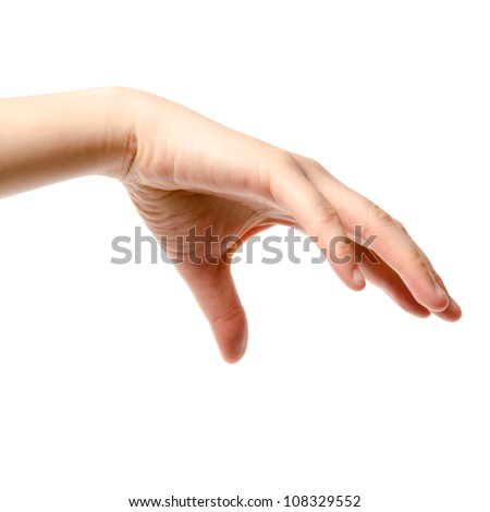 female hand drop or  grab round object, isolated on white background
