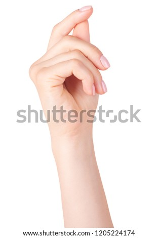 Female hand gesture. isolated on white background #1205224174