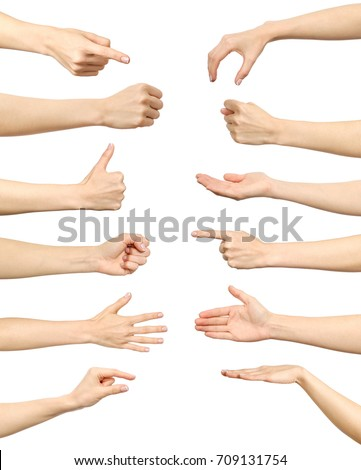 Female hand gestures and signs collection isolated over white background. Set of multiple pictures. Part of series