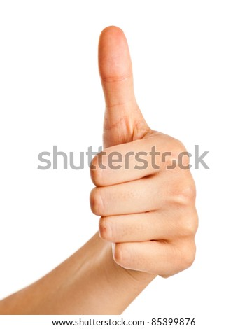 Female hand gesturing the ok sign isolated on white