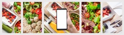 Female hand hold phone mock up screen using weight loss diet plan healthy food take away boxes, daily nutrition ready menu meal online delivery service mobile app ad. Collage horizontal website banner