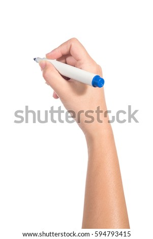 Female hand holding a blue marker isolated on white background