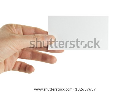 Female hand holding a business card, clipping path included